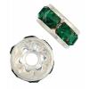 Rhinestone Rondelle (Flat Round) 6mm Silver Emerald